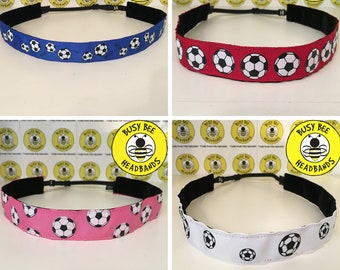"Free Shipping! SOCCER BALLS (7/8"" width) Busy Bee Headbands Adjustable Non-Slip Headband for Women and Girls Athletic busybeeheadbands.com"