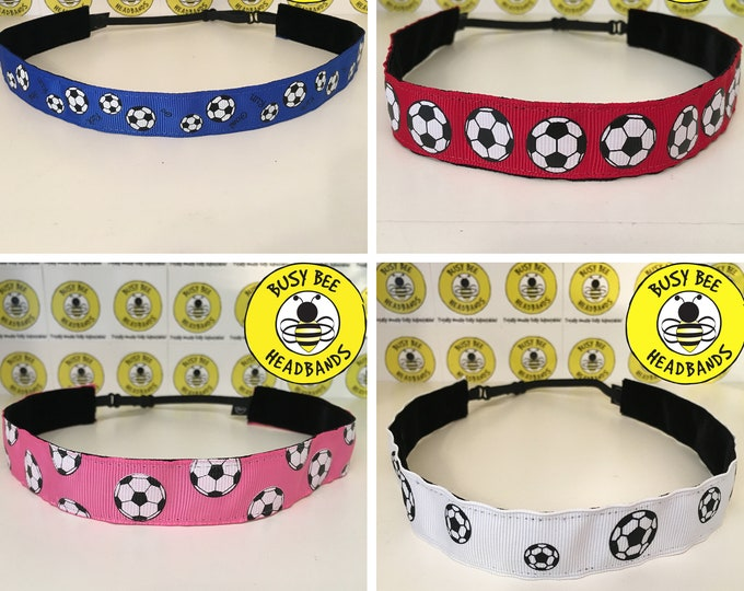 "Free Shipping! SOCCER BALLS (7/8"" width) Adjustable Nonslip Headband / Busy Bee Headbands / Fits 2 yrs to Adult / Athletic"