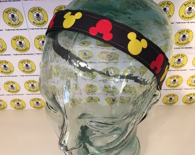 """Free Shipping! DISNEY MICKEY MOUSE  (1"""" width) Busy Bee Headbands Adjustable Non-Slip Headband for Women and Girls Athletic"""