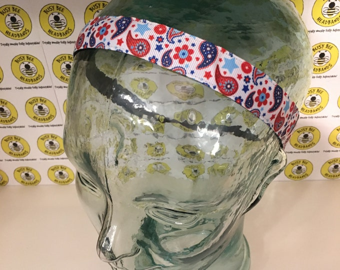 """Free Shipping! PATRIOTIC PAISLEYS  (7/8"""" width) Adjustable Nonslip Headband / Busy Bee Headbands / Fits 2 yrs to Adult / Athletic"""