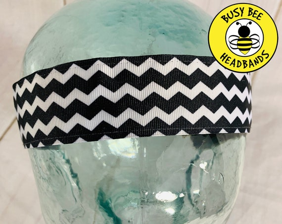 "1.5"" Black Chevron Headband / Running Headband / Nonslip Headband / Adjustable Wide Headband / Workout Headband / Busy Bee Headbands"