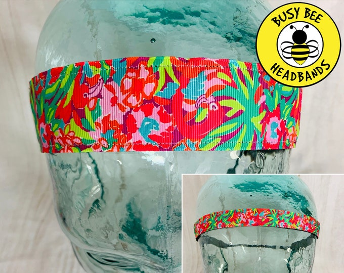 "Button Headband for Mask 5/8"" & 1.5"" FLAMINGO PALM TREES Lilly Inspired Floral Headband /  / Adjustable Nonslip Headband /"