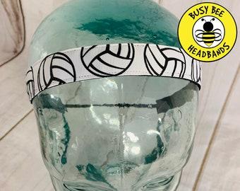 "Button Headband for Mask 7/8"" VOLLEYBALL Headband / Gift for Volleyball Player / Nonslip Headband / Adjustable Headband / Workout Headband /"