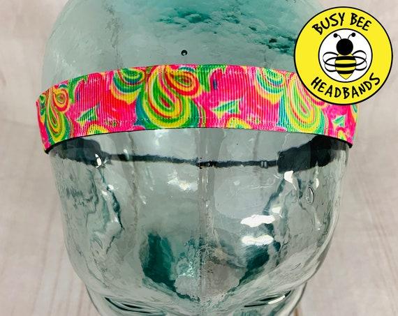 "7/8"" FLAMINGO Lilly Headband / Running Headband / Nonslip Headband / Adjustable Workout Headband / Floral Headband / Busy Bee Headbands"