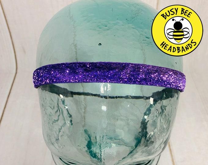 """Button Headband for Mask 3/8"""" 5/8"""" PURPLE SPARKLE Headband /  / Nonslip Adjustable Headband / Workout Headband / Glitter Headband"""