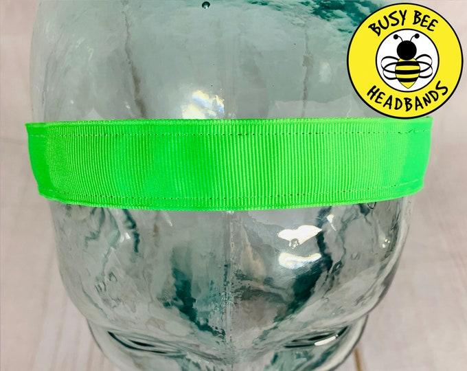 "Button Headband for Mask 7/8"" NEON GREEN Headband /  / Nonslip Headband / Adjustable Headband / Workout Headband / Neon Headband /"