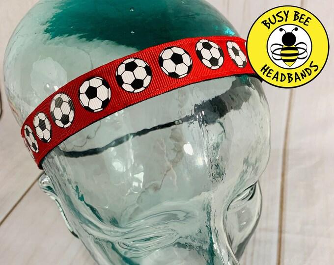 "Button Headband for Mask 7/8"" RED SOCCER Headband / Gift for Soccer Player / Nonslip Headband / Adjustable Headband"