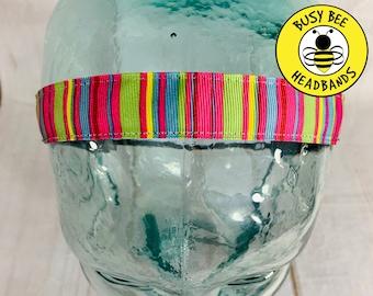 "Button Headband for Mask 7/8"" CANDY STRIPED Headband / Running Headband / Workout Headband / Nonslip Headband / Busy Bee Headbands"