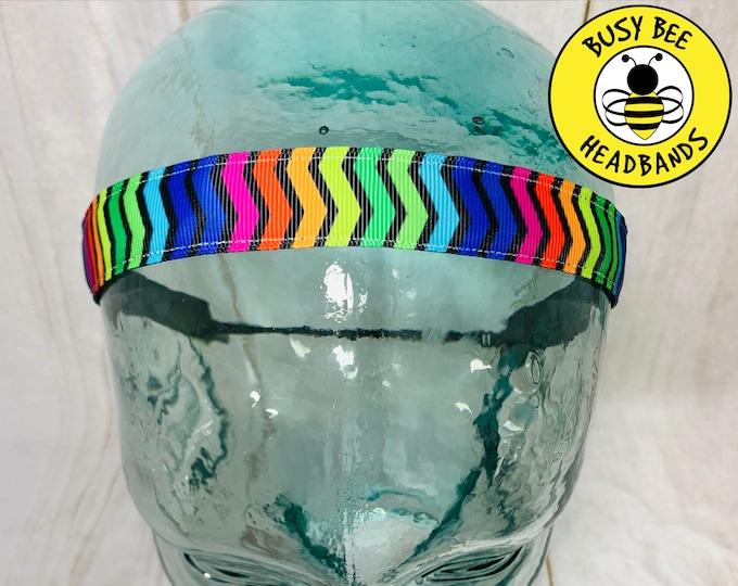 "Button Headband 7/8"" OVER the RAINBOW CHEVRON Headband /  / Yoga Headband / Adjustable Nonslip Headband / Rainbow Lover / Busy Bee Headbands"
