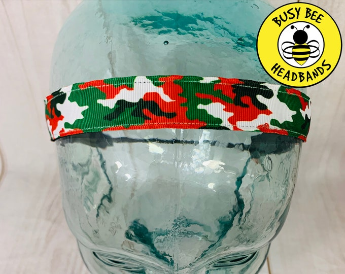 "Button Headband for Mask 7/8"" CHRISTMAS CAMO Headband /  / Yoga Headband / Adjustable Nonslip Headband /"