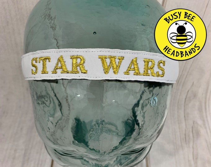 "Button Headband for Mask 7/8"" STAR WARS Headband /  / Embroidered Headband / Nonslip Headband / Adjustable Headband /"
