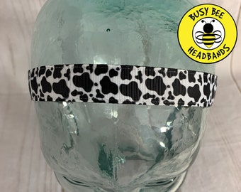 """Button Headband for Mask 7/8"""" COW PRINT Headband / Workout Headband /  / Nonslip Headband / Adjustable Headband / Cow Lover Gift /"""