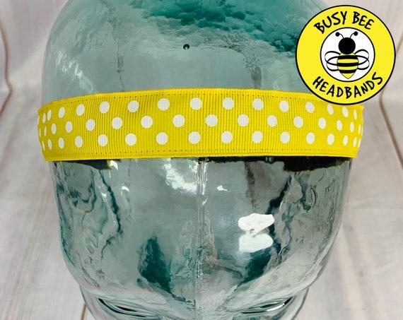 """7/8"""" YELLOW POLKA DOTS Headband / Running Headband / Nonslip Headband / Adjustable Workout Headband / Yellow  Headband / Busy Bee Headbands"""