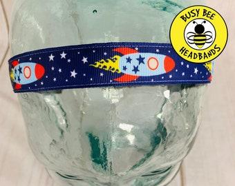 "Button Headband for Mask 7/8"" ROCKET SHIPS Headband /  / Nonslip Headband / Adjustable Workout Headband / Outer Space Lover Gift /"