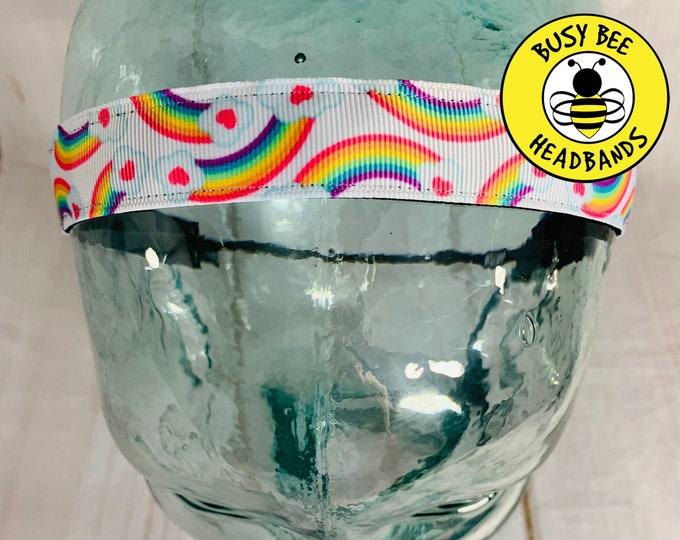 "Button Headband for Mask 7/8"" RAINBOW Headband /  / Nonslip Headband / Adjustable Workout Headband / Gift for Young Girl Tween /"