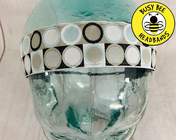 "Button Headband for Mask 1.5"" Dots Gray Headband /  / Nonslip Headband / Adjustable Workout Headband / Yoga Fitness Headband /"