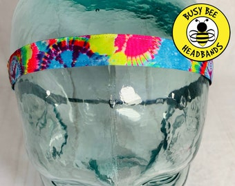 "Button Headband for Mask 5/8"" TIE DYE Headband /  / Skinny Nonslip Headband / Adjustable Yoga Workout Headband / Hippie Headband /"