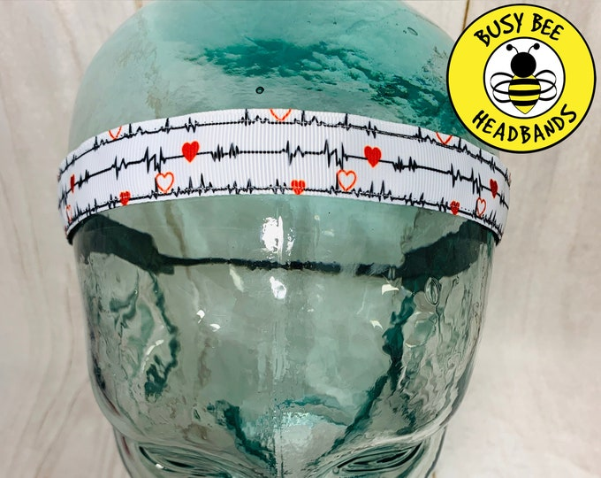 "Button Headband for Mask 7/8"" HEARTBEAT Headband / Yoga Headband / Adjustable Nonslip Headband / Gift for Doctor Nurse / Busy Bee Headbands"