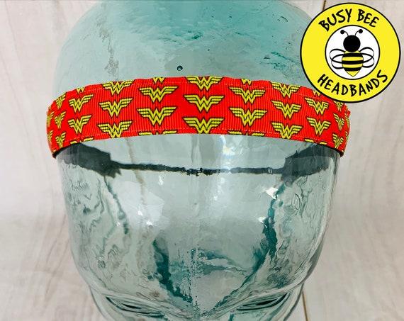 "7/8"" WONDER WOMAN Headband / Running Headband / Super Hero Headband / Adjustable Nonslip Headband / Busy Bee Headbands"
