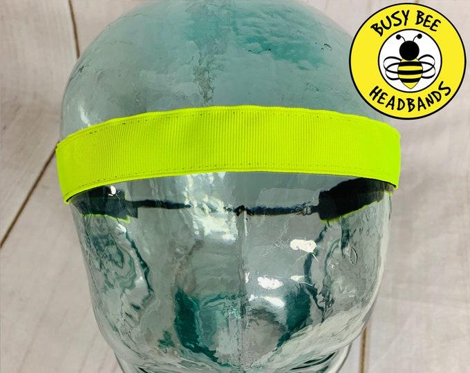 "Button Headband for Mask 7/8"" NEON Headband /  / Nonslip Headband / Adjustable Yoga Workout Headband / Gift for Tween Young Girl /"