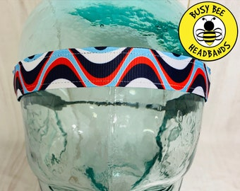 "Button Headband for Mask 7/8"" WAVY PATRIOTIC Headband /  / Yoga Headband / Adjustable Headband / Nonslip Headband /"