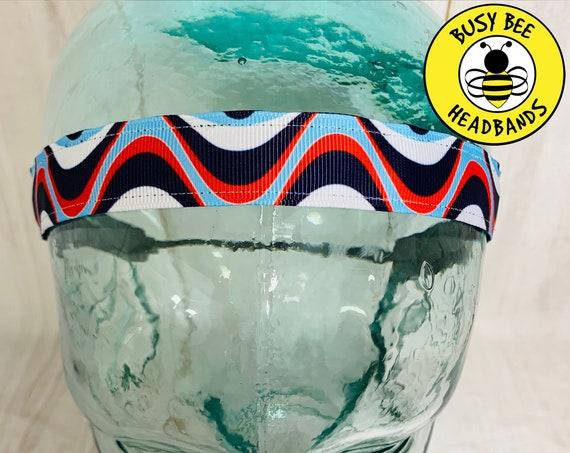 """7/8"""" WAVY PATRIOTIC Headband / Running Headband / Yoga Headband / Adjustable Headband / Nonslip Headband / Busy Bee Headbands"""