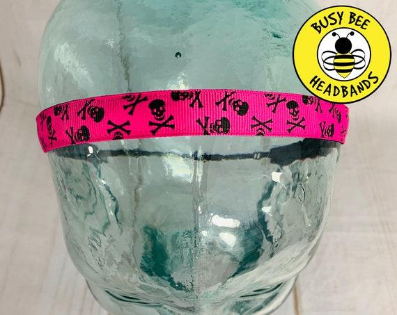 """5/8"""" PINK SKULLS Headband / Running Headband / Nonslip Headband / Adjustable Workout Headband / Skull Cross Bone Pirate / Busy Bee Headbands"""