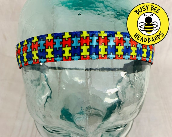 "7/8"" PUZZLE PIECES Headband / AUTISM Headband / Running Headband / Adjustable Nonslip Headband / Workout Headband / Busy Bee Headbands"