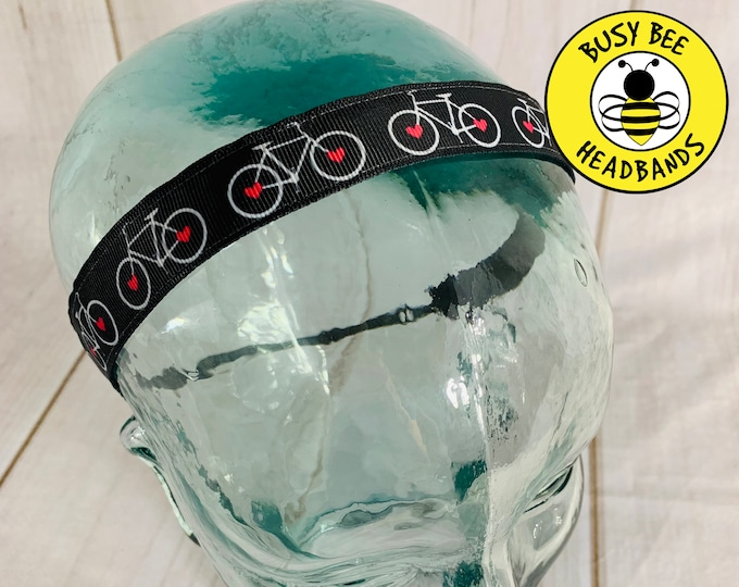 "Button 7/8"" BICYCLE Headband /  / Nonslip Headband / Adjustable Headband / Gift for Cyclists / BIKE Headband / Busy Bee Headbands"