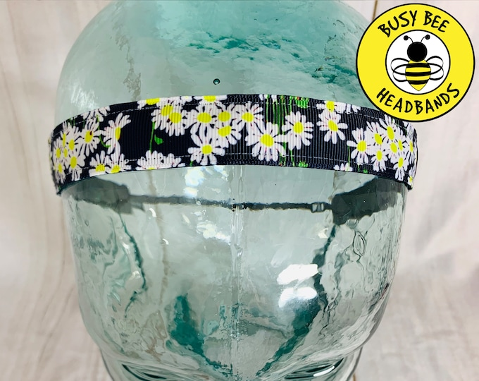 "Button Headband for Mask 7/8"" NAVY DAISY DAISIES Lilly Inspired Floral Headband /  / Yoga Headband / Adjustable Nonslip Headband /"