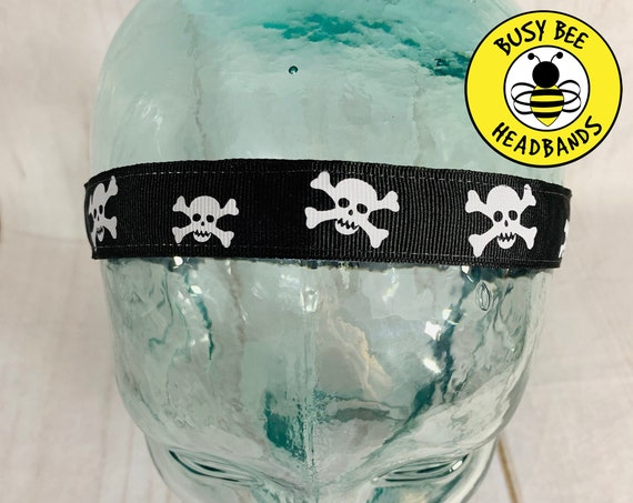 "7/8"" SKULL Headband / Running Headband / Nonslip Headband / Adjustable Workout Headband / Fitness CrossFit Headband / Busy Bee Headbands"