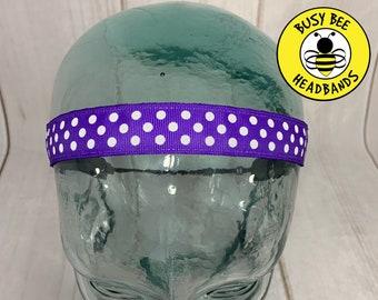 """Button Headband for Mask 7/8"""" PURPLE POLKA DOT Headband /  / Nonslip Headband / Workout Adjustable Headband / Purple Headband /"""