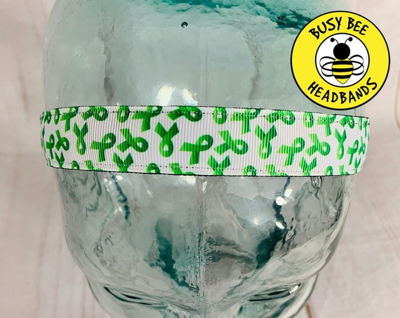 "7/8"" GREEN RIBBON Headband / Leukemia Kidney Cancer Awarenesss / Adjustable Nonslip Headband / Awareness Headband / Busy Bee Headbands"