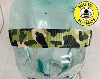 "Button Headband for Mask 1"" Camo Headband /  / Nonslip Headband / Adjustable Camouflage Headband / Gift for Army Wife / Bootcamp /"