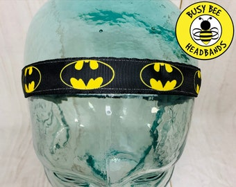 "Button Headband for Mask 7/8"" BATMAN Headband /  / Super Hero Headband / Adjustable Nonslip Headband /"