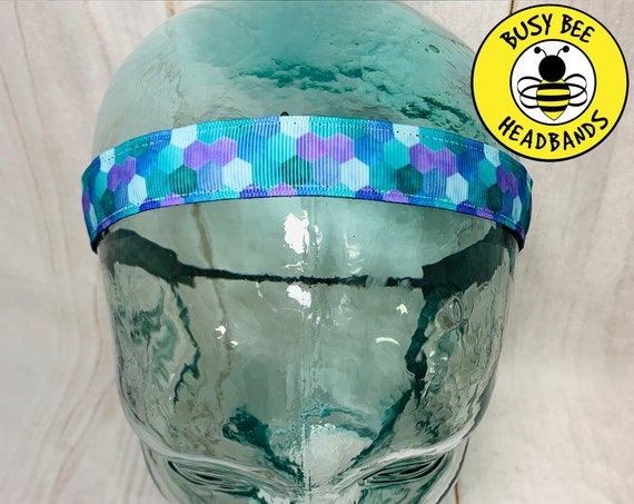 """7/8"""" MERMAID Headband / Running Headband / Yoga Headband / Adjustable Nonslip Headband / Mermaid Lover Gift / Busy Bee Headbands"""