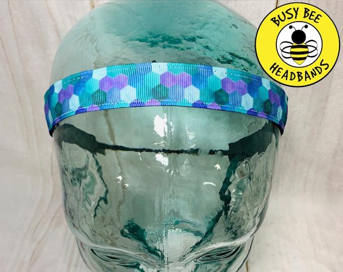 """BUTTON HEADBAND 7/8"""" MERMAID Headband /  / Yoga Headband / Adjustable Nonslip Headband / Mermaid Lover Gift / Busy Bee Headbands"""