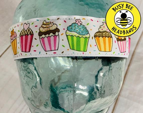 "1.5"" Cupcake Headband / Running Headband / Nonslip Headband / Adjustable Workout Headband / Gift for Cupcake Lover / Busy Bee Headbands"