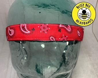 "Button Headband for Mask 7/8"" Red Paisley Headband /  / Nonslip Headband / Adjustable Workout Headband / Fitness Headband /"