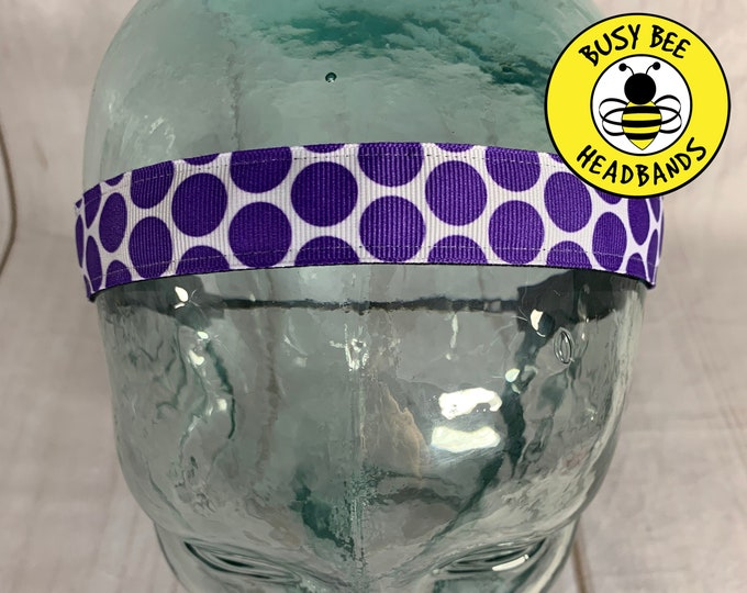 "Button Headband for Mask 7/8"" Big PURPLE POLKA DOT Headband / Nonslip Headband / Adjustable Workout Headband / Purple Headband /"