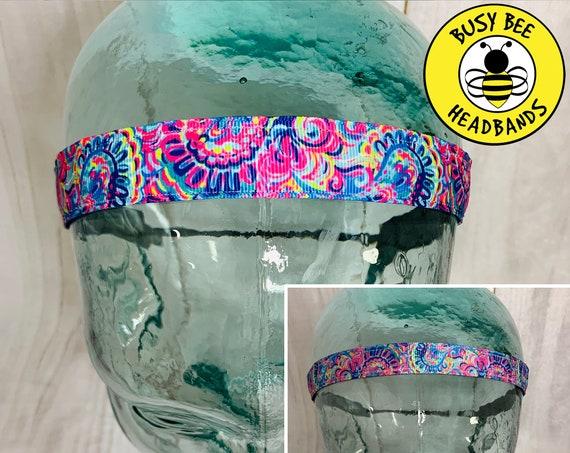 "5/8"" & 7/8"" PSYCHEDELIC SUNSHINE Lilly Inspired Floral Headband / Running Headband / Adjustable Nonslip Headband / Busy Bee Headbands"