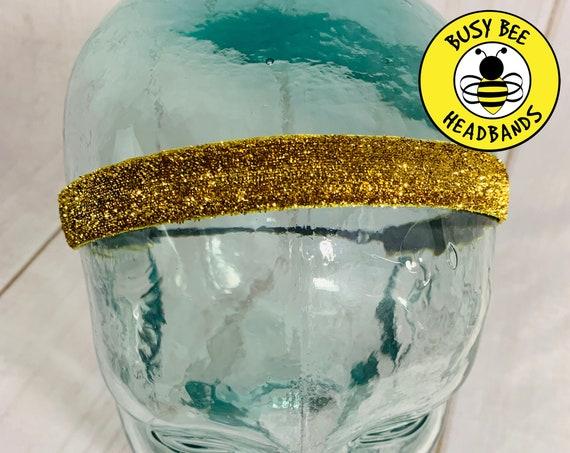 "3/8"" 5/8"" GOLD SPARKLE Headband / Running Headband / Nonslip Adjustable Headband / Workout Headband / Gold Headband / Busy Bee Headbands"