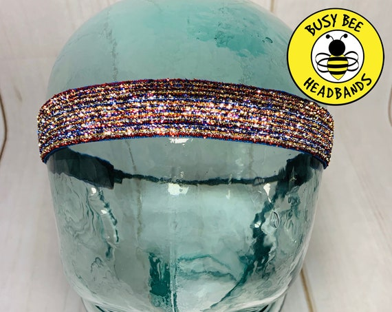 "1"" USA SPARKLE Headband / Running Headband / Adjustable Nonslip Headband / Workout Headband / USA Headband / Busy Bee Headbands"