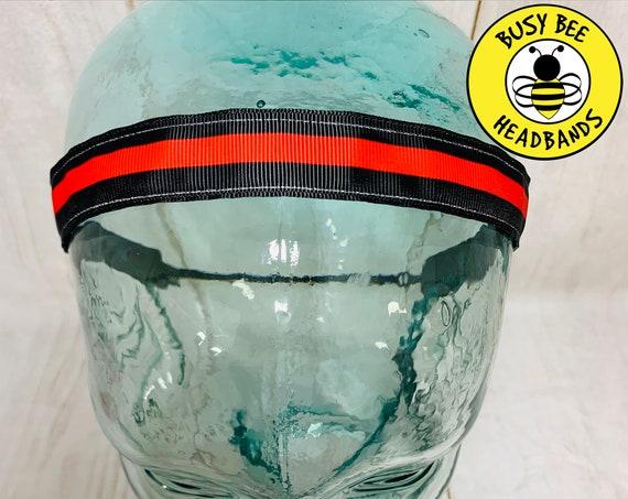 "7/8"" THIN RED LINE Headband / Running Headband / Yoga Headband / Adjustable Nonslip Headband / Gift for Fire Fighter / Busy Bee Headbands"
