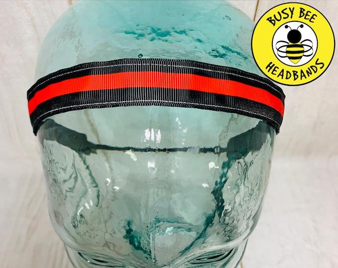 "Button Headband for Mask 7/8"" THIN RED LINE Headband /  / Yoga Headband / Adjustable Nonslip Headband / Gift for Fire Fighter /"