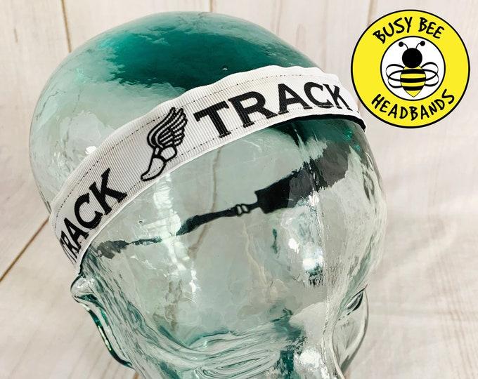 "Button Headband for Mask 7/8"" TRACK AND FIELD Headband /  / Nonslip Headband / Adjustable Headband / Fitness Track Headband /"