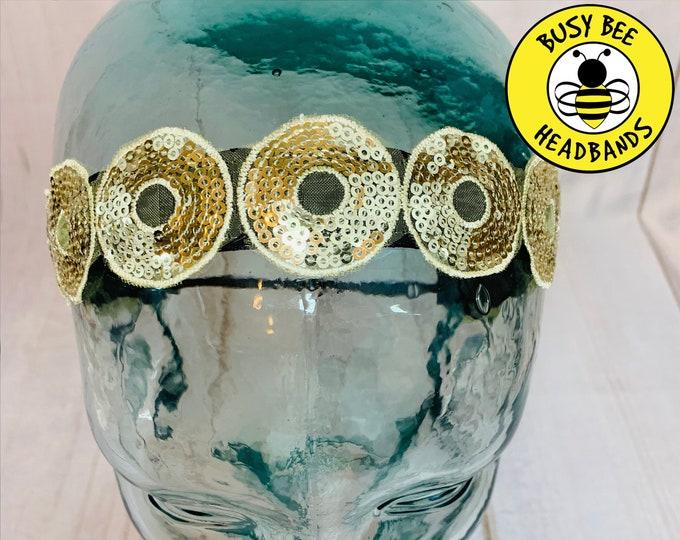 "Button Headband for Mask 7/8"" GOLD SEQUIN Headband /  / Yoga Headband / Adjustable Nonslip Headband / Special Holiday Headband /"