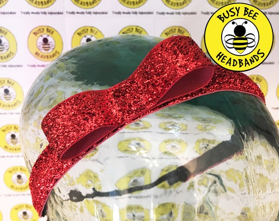 "5/8"" RED BOW SPARKLE Headband / Running Headband / Nonslip Adjustable Headband / Red Bow Headband / Princess Headband / Busy Bee Headbands"