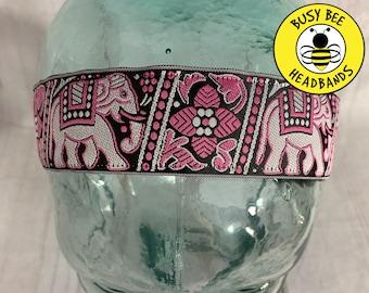 "Button Headband for Mask 1.5"" ELEPHANT Headband /  / Nonslip Headband / Adjustable Workout Headband / Yoga / Elephant Lover Gift /"