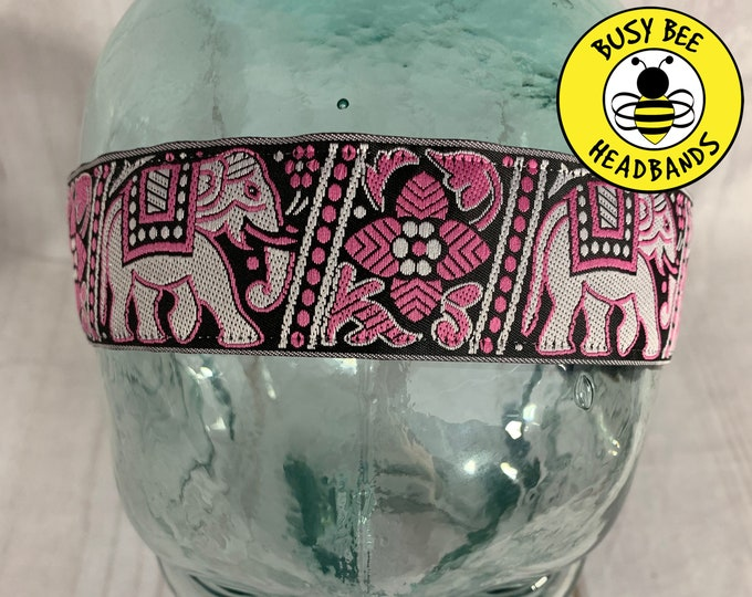 "Button Headband for Mask 1.5"" ELEPHANT Headband /  / Nonslip Headband / Adjustable Workout Headband / Yoga / Elephant Lover Gift /"